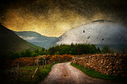 Dawn Mixed Media Posters - Road by the Lake Poster by Svetlana Sewell