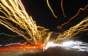 Surrealism Photo Prints - Road Cars And Street Lights Print by Sumit Mehndiratta
