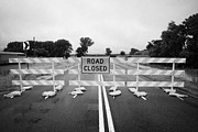 Floods Photos - Road Closed And Highway Barrier Due To Flooding Iowa Usa United States Of America by Joe Fox