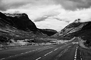 Mountain Road Prints - Road Coming From Rannoch Moor Leading To Fort William Via Glencoe In The Highlands Of Scotland With  Print by Joe Fox