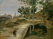 Road Framed Prints - Road from Volterra Framed Print by Jean Baptiste Camille Corot