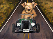Highway Painting Posters - Road Hog Poster by Leah Saulnier The Painting Maniac