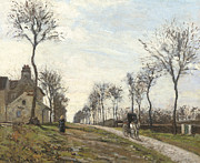 Horse In Autumn Paintings - Road in Louveciennes by Camille Pissarro