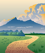 Rural Digital Art Posters - Road Leading to Mountains Poster by Aloysius Patrimonio