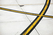 Double Yellow Line Prints - Road Markings On An Airplane Runway Print by Tobias Titz