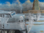 Railroad Snow Paintings - Road Power at Buffalo by Christopher Jenkins