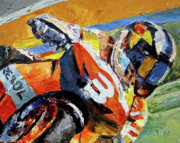 Racer Painting Framed Prints - Road Racer Framed Print by Mark Hartung