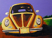 Rally Painting Posters - Road Rally Beetle Poster by Matthew Stennett