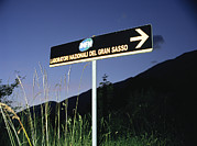 Laboratories Prints - Road Sign To Gran Sasso Laboratories Print by Volker Steger