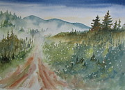 Gravel Painting Prints - Road Through the Hills Print by Ramona Kraemer-Dobson
