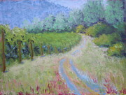 Wine Vineyard Pastels Posters - Road Through the Vineyard Poster by Nancy Jolley