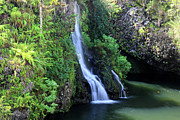 Paradise Road Framed Prints - Road to Hana waterfall Framed Print by Pierre Leclerc
