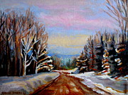 Winter Road Scenes Posters - Road To Knowlton Quebec Poster by Carole Spandau