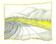 Road Travel Drawings Prints - Road to Koje Print by Sibel Kantola