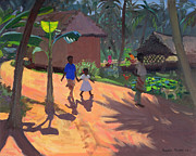 Hut Paintings - Road to Kovalum Beach by Andrew Macara