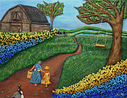 Wicker Baskets Prints - Road To Maple Print by Anne Klar
