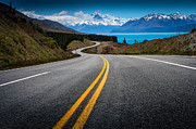 Double Yellow Line Prints - Road To Mt Cook Print by NitiChuysakul Photography
