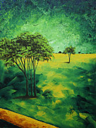 Gold Lime Green Metal Prints - Road to Nowhere 1 by MADART Metal Print by Megan Duncanson