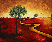 Gold Color Paintings - Road to Nowhere 2 by MADART by Megan Duncanson