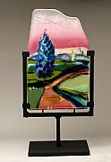 Landscapes Glass Art Originals - Road Trip by Alice Benvie Gebhart