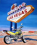 Roads Paintings - Road Trip to Vegas by David Lloyd Glover