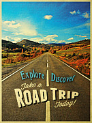 Road Trip Digital Art Framed Prints - Road Trip Framed Print by Vintage Poster Designs