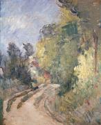 Country Road Painting Posters - Road Turning under Trees Poster by Paul Cezanne