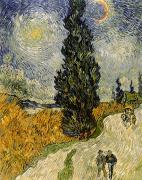 Figures Painting Posters - Road with Cypresses Poster by Vincent Van Gogh