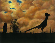 Roadrunner Paintings - Roadrunner Silhoutte by Jean Anne Baldwin