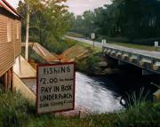Road Sign Paintings - Roadside Fishing Spot by Doug Strickland