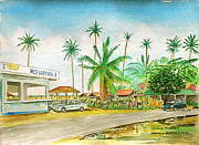 Puerto Rico Paintings - Roadside Food Stands Puerto Rico by Frank Hunter