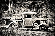 Old Pickup Photos - Roadside Opportunity Black And White by Connie Cooper-Edwards