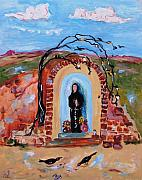 Ruins Mixed Media Originals - Roadside Shrine by Sarah Wharton White