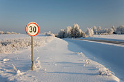 Traffic Sign Photos - Roadside Sign in Winter by Jaak Nilson