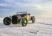 Black And White Prints Framed Prints - Roadster on the Salt Flats 2012 Framed Print by Holly Martin