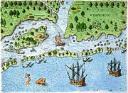 Roanoke Island Framed Prints - Roanoke Landing, 1585 Framed Print by Granger