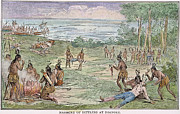 Roanoke Island Framed Prints - Roanoke: Native American Massacre Framed Print by Granger