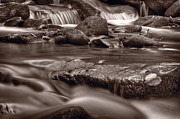Stream Art - Roaring Fork Great Smokey Mountains BW by Steve Gadomski
