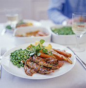 Party Wine Prints - Roast Meal Print by David Munns