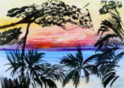 Tropical Paintings - Roatan Sunset by Donna Walsh