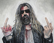 Singer Painting Metal Prints - Rob Zombie Metal Print by Tom Carlton