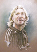 Art Miki Drawings - Robbie Savage by Miki De Goodaboom