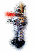 Chrome Mixed Media Prints - Robbie the Robot Print by Russell Pierce