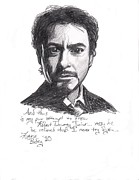 Robert Downey Jr. Prints - Robert Downey Jr. Print by Laura Steelman