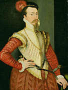 Black Men Painting Framed Prints - Robert Dudley - 1st Earl of Leicester Framed Print by Steven van der Meulen