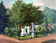 Civil War Paintings - Robert E. Lee Visits Stonewall Jacksons Grave by War Is Hell Store