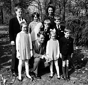 1960s Candids Framed Prints - Robert F. Kennedy And Family, Top, L-r Framed Print by Everett