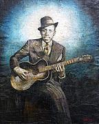 Blues Tapestries - Textiles Framed Prints - Robert Johnson - King of the Delta Blues Framed Print by Doug Norton