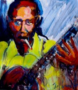 Guitarists Painting Originals - Robert Johnson by Les Leffingwell