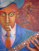 Blues Greeting Cards Posters - Robert Johnson Sweet home chicago  Poster by Da Ghost